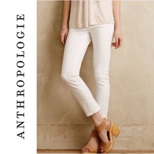 Pilcro and the Letterpress Cropped White Jeans